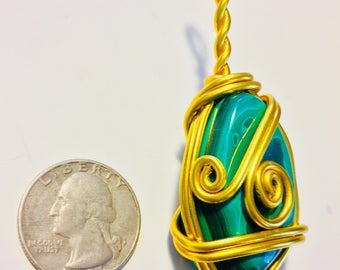 Malachite wire wrap, wire wrapped malachite, malachite necklace, malachite pendant, malachite jewelry, wire wrapped jewelry, stone wire wrap