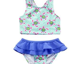 Monogram Turtle Swim Suit | Monogram Kids Swimsuit | Kids Bathing Suit | Children's Turtle Swimsuit | Girl's Bathing Suit