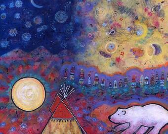 Spirit Bear Art Print. Tipi Wall Art. Tipi Print. Night Print. Spiritual Art Print. Totem Print. Whimsical Wall Art.