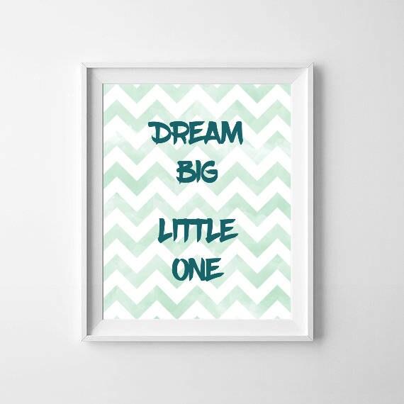 Dream Big Little One Print / Blue Chevron Nursery Print / Dream Nursery Blue Print / Boys Room Blue Digital Prints / Little One Prints