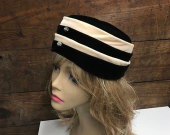 Vintage Black and Tan Velvet Pill Box Hat, Metal and Rhinestone Front Detailing, Vintage Church Hat, Wedding Pill Box Hat