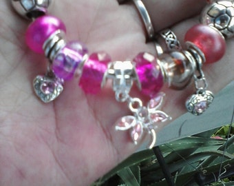 Hearts and Dragonflies, pretty in pink, Euro style bracelet
