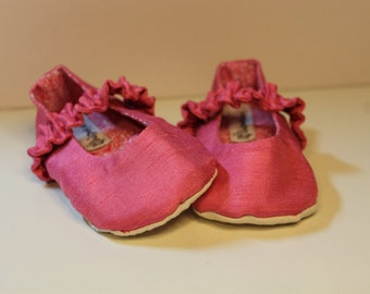 Pink Silk Baby Mary Jane Dress Shoes, Baby Mary Jane Slipper Booties, Baby Easter Shoes