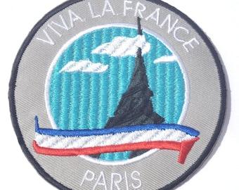 """Viva La France Paris Patch (3.5"""") Embroidered Iron / Sew on Badge Travel Trek Souvenir La Dame Der Fer Ile De France Applique"""