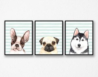 Nursery Puppy Dog Print Set of 3 | Blue Striped Dog Printable Set | Pug Boston Terrier Husky Art | Animal Print Set | DIGITAL FILES ONLY