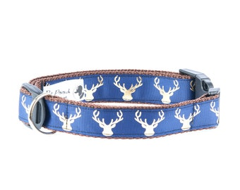 Country Stag On Navy Blue Stag Dog Collar OR Lead