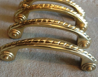 """Solid Brass Handle Curved Door Drawer Pull 3"""" Screw Holes Vintage Hardware 2 Available - #1546"""