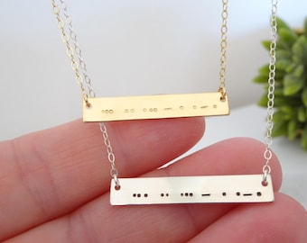 Morse code necklace, Secret code necklace, Personalized Name Bar Necklace, Custom Bridesmaid jewelry, Sister necklace, Christmas Gift