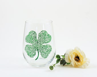 Irish wine glass, Irish gift, Celtic, Shamrock, Hand painted stemless wine glass