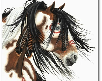 Majestic Horses - Pinto War Paint Native Feathers - Fine Art Prints by Bihrle mm29