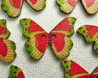 "Summer Contrast: 1-1/8"" (28mm) Wooden Butterfly Buttons - Set of 7 New/Unused Matching Buttons"