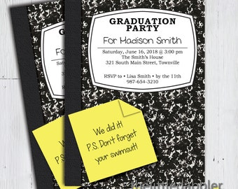 Printable Composition Notebook School Party Invitation -- End of School Year, School's Out For Summer, Last Day of School, Graduation Party