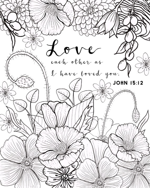 john 1512 coloring page love coloring page adult coloring page flower coloring page - Love Coloring Pages