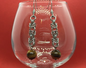 Chainmaille Earrings - Byzantine with Tigers Eye - Stainless Steel