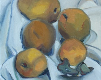 5 Pears, original painting, oil painting, pears, contemporary realism, handmade, fruit, square, Marie Freudenberger, fine art, studio art