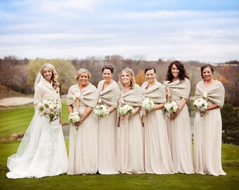 Infinity Cowl, Chunky Knit Tan Cowl, Knit Cowl Scarf, Loop Scarf, Chunky Knit Cowl, Cozy Cowl, Wedding Bridesmaid Cowl, Bride Bridesmaid