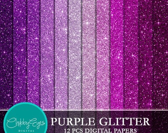 Purple Glitter Digital Papers, Scrapbook Papers Purple Sparkles Clipart , digital background - Instant Download