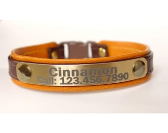Leather cat collar for cats and kittens, personalized with engraved lightweight metal plate-many colors to choose by Ruggit Collars