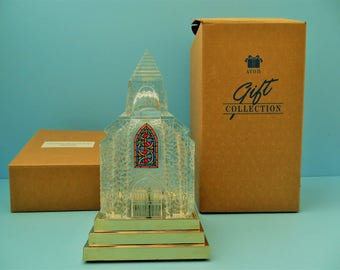 Vintage Avon Silent Night Crystal Church with blinking lights and box from 1992