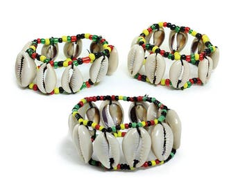 Price Cut! 50% off!African Gold! Colorful Cowrie Shell Bracelets- Rasta!