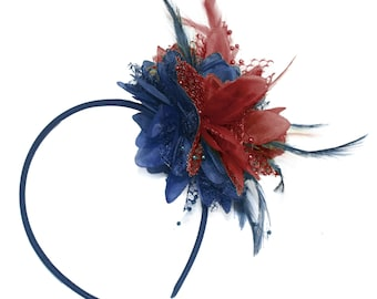 Navy and Burgundy Fascinator Headband Hair Band Flower Corsage