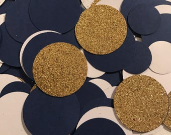 """Notre Dame Confetti 1"""" circle Navy Gold glitter card stock table decor party decoration birthday anniversary wedding baby showr Handmade New"""