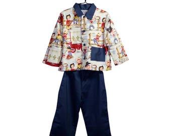 """Pajama pattern vintage """"Cowboy"""" in American cotton last PIECE!"""