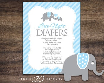 Instant Download Blue Elephant Late Night Diapers, 8x10 Blue Grey Diaper Thoughts, Boy Elephant Baby Shower Decorate Diaper Activity 22C