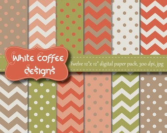 Scrapbook paper, digital paper, polka dot paper, chevron paper, coral, peach, green, beige paper, baby paper, instant download, cij