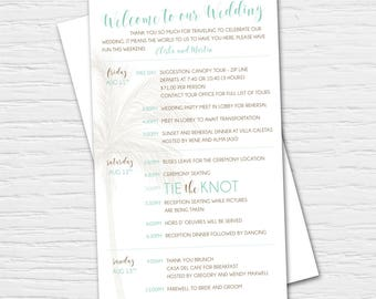 Antiqued Destination Wedding Invitation with Palm Trees