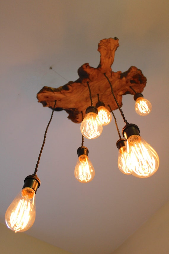 Custom to order small live edge slab light fixture with