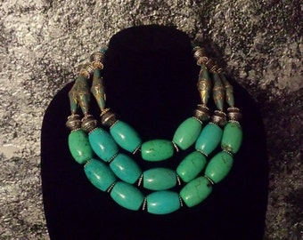 Big Bold Chunky Statement Necklace Turquoise Tibetan Nepalese ETHNIC Necklace IRIS APFEL Boho Chic Urban Tribal Gypsy Soul Heavy Necklace