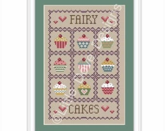 Fairy Cakes Cross Stitch Sampler PDF Chart INSTANT DOWNLOAD