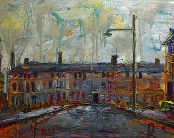 SOLD - Oil Painting on Canvas/ Original Oil Painting Abstract Impressionist Art City Modern Buildings Large
