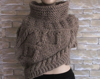 Katniss Huntress Cowl Vest Armor, Knitting all Adult Sizes and Colors,asymmetric Cowl, Huntress Vest Brown Many Colors and Options Available