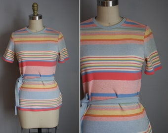 Early 1970s Knit Top // Pastel Stripes // Small