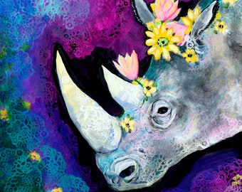 Flowers for Rhino ORIGINAL Painting on 19x25 Yupo paper by JENLO