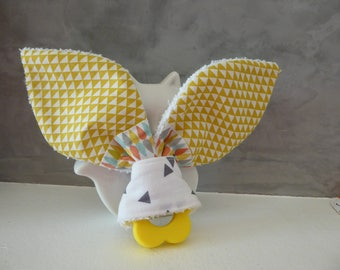 White, gray and yellow montessori with fabric Bunny ear teething ring your choice