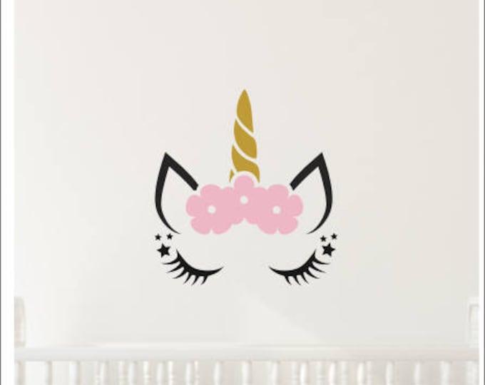 Unicorn Wall Decal-Girls Wall Decor-Decal for Nursery or Bedroom-Unicorn Vinyl-Magical Floral Unicorn-Trendy Wall Decor