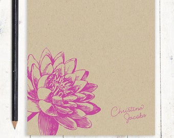 personalized notePAD - LOTUS FLOWER BLOOM - kraft notepad - stationery - stationary - floral - botanical