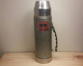 UNO-VAC Vintage Metal Thermos with Unbroken Glass Liner