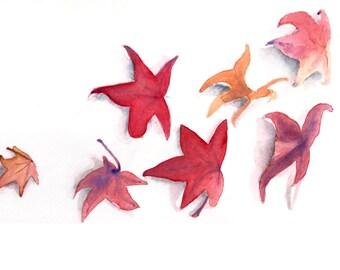 Autumn Leaves Watercolor Print 5 x 7