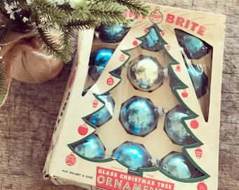 Vintage Shiny Brite Ornaments with Box