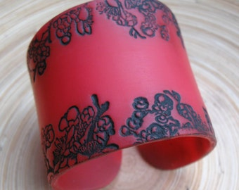 SALE Red Translucent Cuff Bracelet, Black Asian Floral, Handmade Jewelry by theshagbag