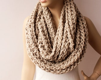 Chunky knit  loop infinity  scarf, crochet scarf , chunky crochet scarf ,big crochet scarf- COLOR option