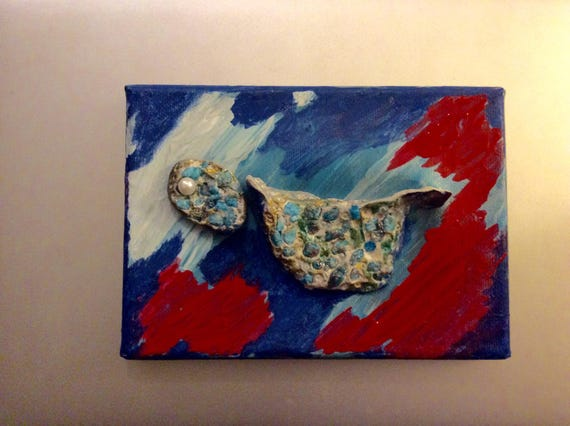 Art Wall decor 3 d beaded blue  turquoise bird on painted acrylic canvas
