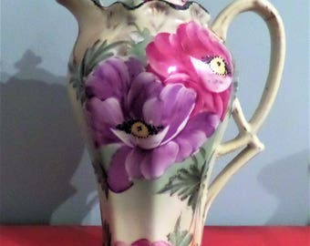 Chocolate Pot. Unmarked. Green with Purple and Pink Flowers.