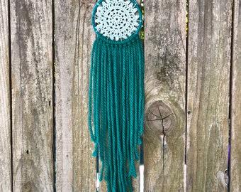 Teal Green Dream Catcher / Yarn Wall Hanging