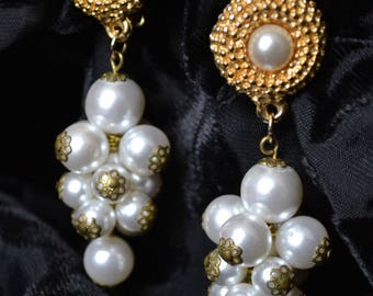 Pearl and gold tone clip-on earrings