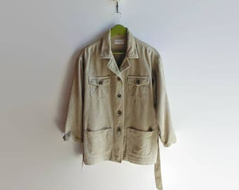 Jacket in Beige Corduroy - 90s Women Clothes - Vintage Clothing, Size 8 USA, Drop Down Buttons, Fall, Casual Blazer, Chunky, Four Pockets